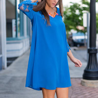 All The Crochet Down Dress, Royal Blue