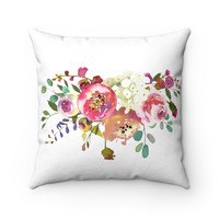 Pink Rose Spray Square Pillow, Pink Rose Throw Pillow, Pillow with Pink Roses, Decorative Pillow for Women