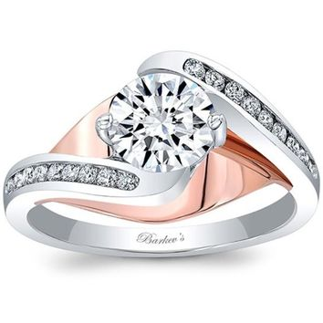 Barkev's Swirl Two-Tone Round Cut Diamond Engagement Ring