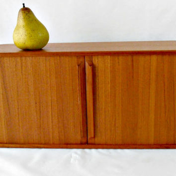 Mid Century Teak Tambour Wall Cabinet, Roll Top Desk Box, Danish Modern Wood Desk Organizer, Desk Storage Box, Eames Style Floating Cabinet