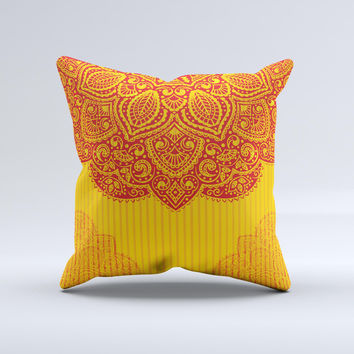 Gold & Red Abstract Seamless Pattern Ink-Fuzed Decorative Throw Pillow