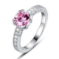 Sterling Silver Pink and Clear Cubic Zirconia Engagement Ring
