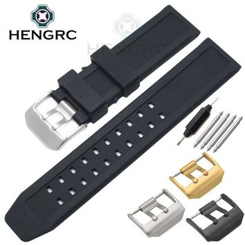 HENGRC Men Rubber Watch Band Black 23mm Sport Waterproof Silicone Strap Stainless Steel Metal Buckle For Luminox Accessories