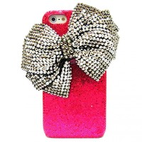 iPhone 5 case, iPhone 5G case, iPhone 5 Crystal Case, Dark Pink iphone 5G bow case, crystal iphone case, bling iphone 5 Pink Silver Bow Case BB