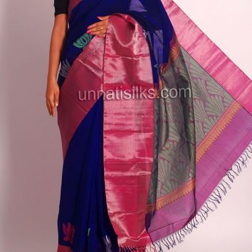 KUN062-Blue-purple pure handloom Kollam silk cotton pattu saree