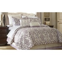 Amrapur Azlin Floral Damask 8 Piece Comforter Set In Lavender And Ivory