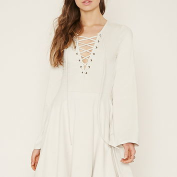 Lace-Up Faux Suede Dress