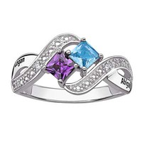Couple's Princess-Cut Simulated Birthstone and Diamond Accent Ring in Sterling Silver (2 Names and Stones)