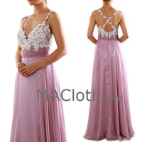 Straps Sweetheart Long Lace Chiffon Purple Prom Formal Dress Evening Gown