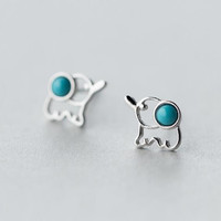 2016 hot 925 sterling silver simple hollow line small animal earrings ,cute elephant earring+ Gift box