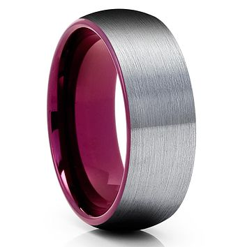Purple Tungsten Wedding Band - Gray Tungsten Ring - Purple Tungsten Ring - Brush