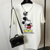 Mickey Mouse Embroidered Short Sleeve T-Shirt