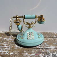 The Empress Telephone 1973 Fancy Telephone Blue and Gold Shabby Decor Push Button Phone