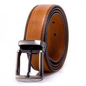 YoMeiJun Men's Leather Belt Handmade Vegetable Tanned Leather