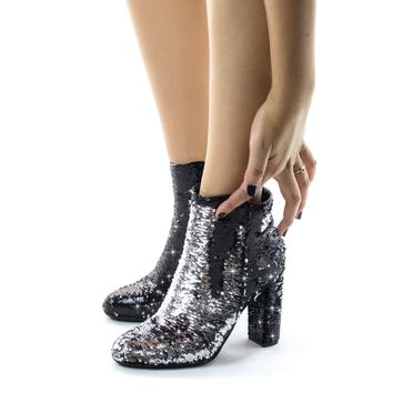 Living39 Reversible Sequins Block Heel Ankle Bootie