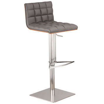Oslo Adjustable Brushed Stainless Steel Barstool in Gray Pu with Walnut Back