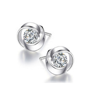 Rose flower solid 925 sterling silver earring studs for women with 1 ct cz diamond