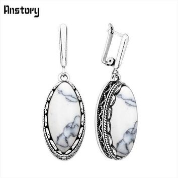ESBONFI Classic Eye Shape White Blue Stone Earrings For Women Vintage Antique Silver Plated Wedding Party Gift Fashion Jewelry TE151