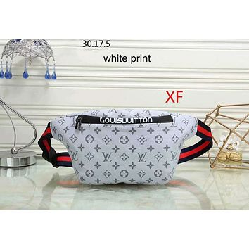 LV Louis Vuitton 2018 new women's tide brand fashion wild leisure shoulder bag purse F-LLBPFSH white print
