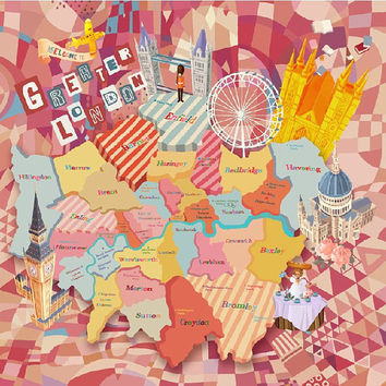 London City Map Pattern Printed Handkerchief Hankie Square Silk Floss Scarf ----- Mother's Day Exquisite Originality Gift