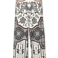 PETITE Tile Print Wide Leg Trousers - Monochrome