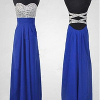 Custom Made A Line Sweetheart Neck Royal Blue Long Prom Dress, Blue Formal Dresses