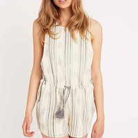 Ecote Sandpiper Playsuit in Cream - Urban Outfitters