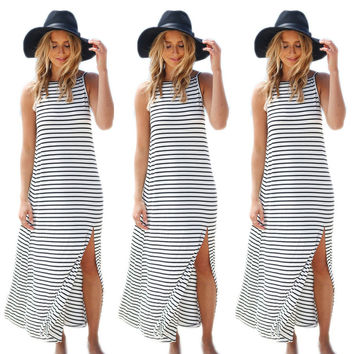 Summer Women's Fashion Stripes Split Spaghetti Strap One Piece Dress [6343438721]