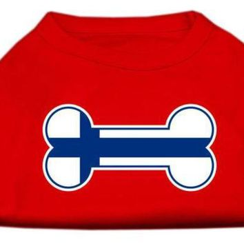 PEAPON Bone Shaped Finland Flag Screen Print Shirts Red XL (16)