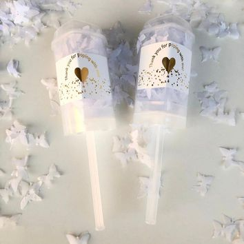10pcs Heart Push Poppers White biodegradable butterfly Confetti for Wedding Bridal Shower Anniversary Baby Shower Decorations