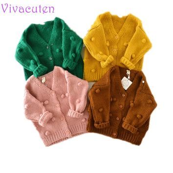 Baby  girls Hand-made Bubble Ball Sweater Knitted Cardigan Jacket Baby Sweater Coat Girls Cardigan Girls Winter Sweaters