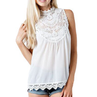Fashion Summer Blouses 2016 Sexy Women Blusas Casual Chiffon Lace Crochet Sleeveless Tops Blouse Casual Tanks Tops Plus Size