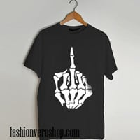skull middle finger shirt T shirt