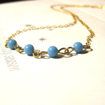 Vintage Beaded Necklace -Blue -14k Gold Fill- Minimalist Jewelry -Minimalist Necklace- Layering Necklace- Everyday Necklace- Dainty Jewelry