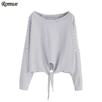 Women Casual Tops Round Neck Drop Shoulder Long Sleeve Tie Front Striped T-shirt