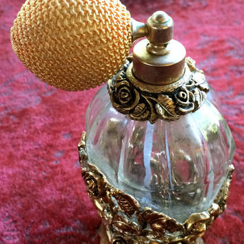 Vintage Rose Atomizer, Gold Ormolu Bottle, Perfume Bottle, Floral Vanity Collectible, Rose Cologne Accessory, Bridal Gift Wedding Present