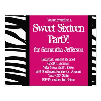 Sweet Sixteen, Hot Pink Zebra Personalized Invite from Zazzle.com
