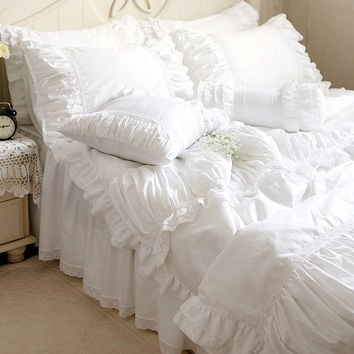 Luxury white lace ruffle bedding set,twin full queen king cotton girl,french princess wed home textile bedspread quilt cover
