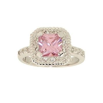 Classic Engagement Style Ring in Pink Princess Cut Cubic Zirconia