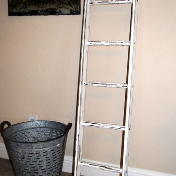 Ladder Vintage Rustic, Blanket Ladder, distressed pot rack, white wood furniture 5', woodworking, stepladder, wood