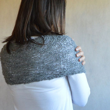 Grey Alpaca Poncho Gift under 50 Loose Knit Poncho Thin and Thick wool Capelet for women Ready To Ship