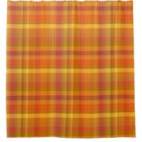 Cozy Fall Orange Plaid Pattern Shower Curtain