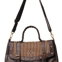 Banned Steampunk Stripe Brown Handbag