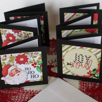 Christmas gift enclosure cards, Santa Joy to the World assorted mini note cards 3 x 3, small favor cards, set of 6