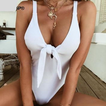 Open Back White Ribbed Women Bodysuit Tie-Front Backless