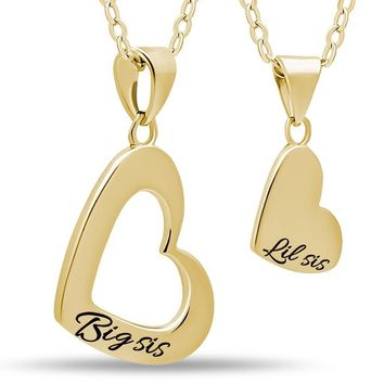 Sister Heart Necklace Set for Big Sis Lil Sis, 925 Silver, 14K Gold Plated Necklaces