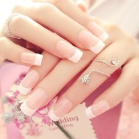 Newest 24pcs/lot False Nails Pink Fake Nails French Style Nails tips Faux Ongels  Fingernails Free Glue