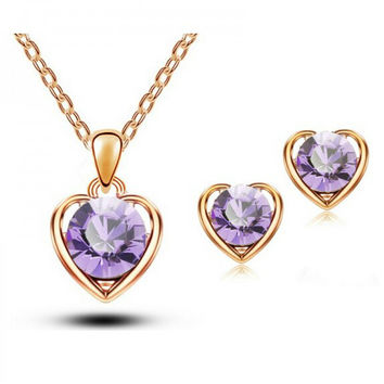 2015 Fashion 18K Gold & Silver Plated Crystal Heart Shape Fashion Costume Jewelry Sets for Women Necklace Earrings Sets- g224