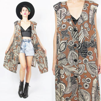 Vintage Duster Vest 90s Abstract Print Long Vest Brown Vest Sleeveless Maxi Vest Leaf Print Hippie Boho Layering Top Plus Size Dress (XL)