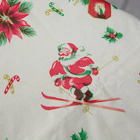 Vintage Christmas Tablecloth Skiing Santa Claus Circle Flannel Back Atomic